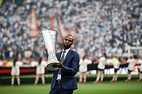 Former French football player Eric Abidal, and ambassador for the UEFA Europa League final in Lyon holds the trophy before the start of the final football match between Olympique de Marseille and Club Atletico de Madrid at the Groupama Stadium in Decines-Charpieu, near Lyon, France, May 16, 2018.<br /> UPDATE IMAGES PRESS/Isabella Bonotto