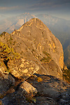 Golden Sunset light on sheer granite stone cliffs of Moro Rock, Sequoia National Park, California