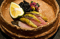Kaiseki sashimi course - mackerel and roasted aubergine - at a ryokan.