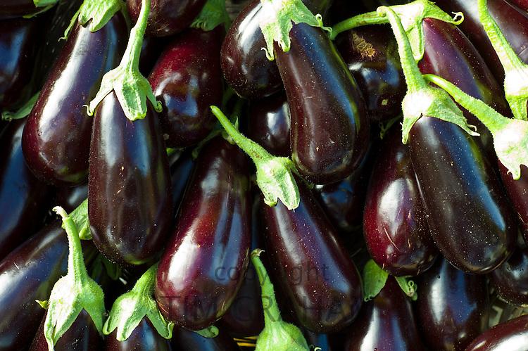 Aubergines (eggplants)  at food market in Bordeaux region of France