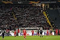 Eintracht Fans feiern den 4:1 Sieg - 20.02.2020: Eintracht Frankfurt vs. RB Salzburg, UEFA Europa League, Hinspiel Round of 32, Commerzbank Arena DISCLAIMER: DFL regulations prohibit any use of photographs as image sequences and/or quasi-video.