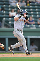 Designated hitter Connor Spencer (33) of the Charleston RiverDogs bats in a game against the Greenville Drive on Tuesday May 17, 2016, at Fluor Field at the West End in Greenville, South Carolina. Greenville won, 4-2. (Tom Priddy/Four Seam Images)