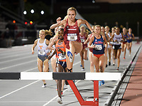 NWA Democrat-Gazette/CHARLIE KAIJO Devin Clark runs the women's steeplechase during the SEC track and field championships, Friday, May 10, 2019 at John McDonnell Field in Fayetteville.