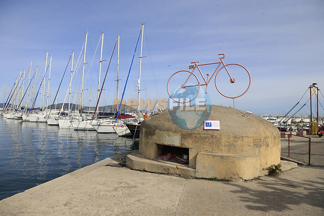 Alghero marina before Stage 1 of the 100th edition of the Giro d'Italia 2017, running 206km from Alghero to Olbia, Sardinia, Italy. 4th May 2017.<br /> Picture: Eoin Clarke | Cyclefile<br /> <br /> <br /> All photos usage must carry mandatory copyright credit (&copy; Cyclefile | Eoin Clarke)