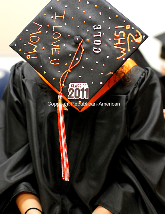 Watertown, CT- 17, April 2011-061711CM08 Watertown graduate, Nicole Thomas shows off her decorated hat before the start of Watertown High School's commencement exercises Friday night.   Christopher Massa Republican-American
