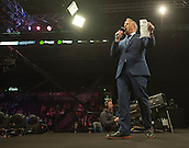 09.04.2015. Sheffield, England. Betway Premier League Darts. Matchday 10.  Master of Ceremonies John McDonald introduces the players to the stage.