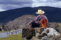 Teotihuacan - also written Teotihuacán, with a Spanish orthographic accent on the last syllable - is an enormous archaeological site in the Basin of Mexico, containing some of the largest pyramidal structures built in the pre-Columbian Americas. Apart from the pyramidal structures, Teotihuacan is also known for its large residential complexes, the Avenue of the Dead, and numerous colorful, well-preserved murals. Additionally, Teotihuacan produced a thin orange pottery style that spread through Mesoamerica.[1].The city is thought to have been established around 100 BCE and continued to be built until about 250 CE.[2] The city may have lasted until sometime between the 7th and 8th centuries CE. At its zenith, perhaps in the first half of the 1st millennium CE, Teotihuacan was the largest city in the pre-Columbian Americas. At this time it may have had more than 200,000 inhabitants, placing it among the largest cities of the world in this period. Teotihuacan was even home to multi-floor apartment compounds built to accommodate this large population.[2] The civilization and cultural complex associated with the site is also referred to as Teotihuacan or Teotihuacano..Although it is a subject of debate whether Teotihuacan was the center of a state empire, its influence throughout Mesoamerica is well documented; evidence of Teotihuacano presence can be seen at numerous sites in Veracruz and the Maya region. The Aztecs may have been influenced by this city. The ethnicity of the inhabitants of Teotihuacan is also a subject of debate. Possible candidates are the Nahua, Otomi or Totonac ethnic groups. Scholars have also suggested that Teotihuacan was a multiethnic state..The city and the archaeological site are located in what is now the San Juan Teotihuacán municipality in the State of México, Mexico, approximately 40 kilometres (25 mi) northeast of Mexico City. The site covers a total surface area of 83 km² and was designated a UNESCO World Heritage Site in 1987. It is one o