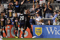 Danny Mwanga (10) of the Philadelphia Union celebrates scoring the game tying goal. The Philadelphia Union  and the Los Angeles Galaxy played to a 1-1 tie during a Major League Soccer (MLS) match at PPL Park in Chester, PA, on May 11, 2011.