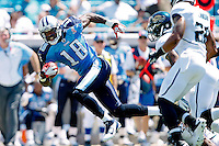 Sept 11, 2011:   Tennessee Titans wide receiver Kenny Britt (18) runs after catching a pass during second quarter action between the Jacksonville Jaguars and the Tennessee Titans at EverBank Field in Jacksonville, Florida.   ........