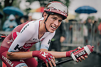 an exhausted Nils Politt (DEU/Katusha-Alpecin) after finishing 38th in the opening TT of the 2017 Tour de France<br /> <br /> 104th Tour de France 2017<br /> Stage 1 (ITT) - D&uuml;sseldorf &rsaquo; D&uuml;sseldorf (14km)