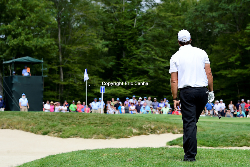Saturday, September 3, 2016:  Phil Mickelson watches the flight of his ball to the pin on the on the seventh green during the second round of the Deutsche Bank Championship tournament held at the Tournament Players Club, in Norton, Massachusetts.  Eric Canha/Cal Sport Media
