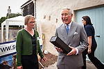 Prince of Wales, Prince Charles visits the Scottish Lime Centre Trust, Charlestown, Fife. SLCT Director, Roz Artis, presents HRH with a bottle of Adelphi whisky. 08 Sep 2017. Charlestown. Credit: Photo by Tina Norris. Copyright photograph by Tina Norris. Not to be archived and reproduced without prior permission and payment. Contact Tina on 07775 593 830 info@tinanorris.co.uk  <br /> www.tinanorris.co.uk
