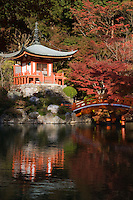 Bentendo Hall at Daigoji Temple Pond - Daigoji Temple Garden within Daigoji temple complex, a UNESCO world heritage site that includes many temple halls, structures and pagodas including Kyoto's oldest building.