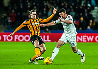 Sheffield United's defender Enda Stevens (3) beats Hull City's midfielder Jackson Irvine (4) to the ball during the Sky Bet Championship match between Hull City and Sheff United at the KC Stadium, Kingston upon Hull, England on 23 February 2018. Photo by Stephen Buckley / PRiME Media Images.