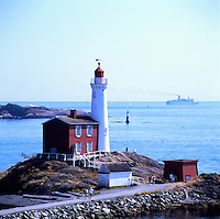 Fisgard Lighthouse at Fort Rodd Hill National Historic Site, Esquimalt Harbour near Victoria, British Columbia, Canada