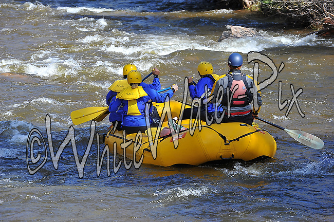 Sage Outdoor Adventures crashing International Bridge Rapid and the Vail Whitewater Park while running Gore Creek from East Vail to Lionshead, Vail Valley, Colorado, May 26, 2014, AM, WhiteWater-Pix | River Adventure Photography, Doug Mayhew | Madographer