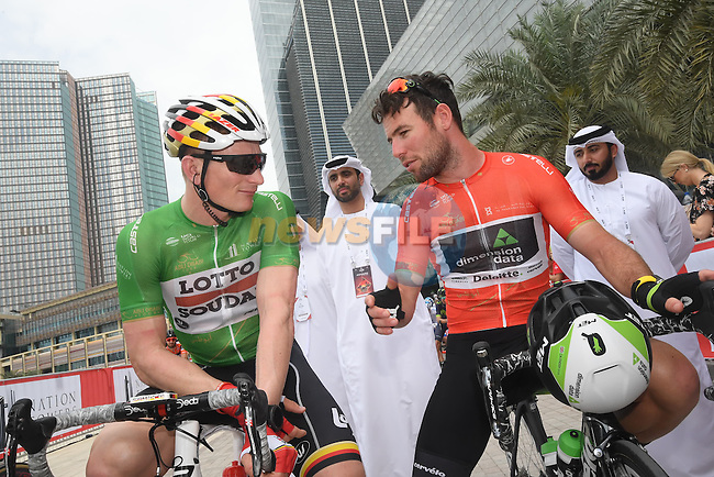 Andre Greipel (GER) Lotto-Soudal and race leader Mark Cavendish (GBR) Team Dimension Data chat  before the start of Stage 2 the Nation Towers Stage of the 2017 Abu Dhabi Tour, running 153km around the city of Abu Dhabi, Abu Dhabi. 24th February 2017<br /> Picture: ANSA/Claudio Peri | Newsfile<br /> <br /> <br /> All photos usage must carry mandatory copyright credit (&copy; Newsfile | ANSA)