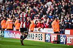 Billy Sharp of Sheffield Utd hands his jacket to a fan after the Championship league match at Bramall Lane Stadium, Sheffield. Picture date 28th April, 2018. Picture credit should read: Harry Marshall/Sportimage