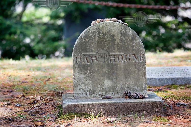 The headstone on the grave of writer Nathaniel Hawthorne who died in 1864.