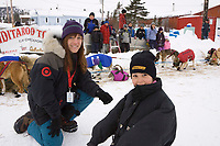 Target sponsored Teacher on the Trail, Jane Blaile, talks with one of Elim's students at the checkpoint on Tuesday during Iditarod 2008