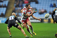 James Hook of Gloucester Rugby passes the ball. Aviva Premiership match, between Wasps and Gloucester Rugby on November 8, 2015 at the Ricoh Arena in Coventry, England. Photo by: Patrick Khachfe / Onside Images
