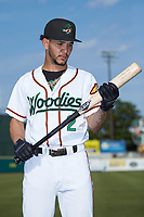 Anderson Tejeda (2) of the Down East Wood Ducks poses for a photo prior to the game against the Winston-Salem Dash at Grainger Stadium Field on May 17, 2019 in Kinston, North Carolina. The Dash defeated the Wood Ducks 8-2. (Brian Westerholt/Four Seam Images)