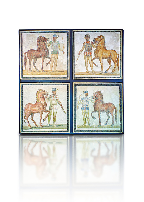 Roman geometric floor mosaic depicting Charioteers and their horses from the Circus  from  a room of a villa  in the locality Baccano near the Via Cassia, Rome. Beginning of the 3rd century AD. National Roman Museum, Rome, Italy