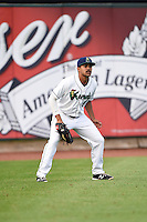 Cedar Rapids Kernels left fielder LaMonte Wade (5) during the first game of a doubleheader against the Kane County Cougars on May 10, 2016 at Perfect Game Field in Cedar Rapids, Iowa.  Kane County defeated Cedar Rapids 2-0.  (Mike Janes/Four Seam Images)