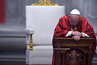 Pope Francis the ceremony of the Good Friday Passion of the Lord Mass in Saint Peter's Basilica at the Vatican.April 10, 2020