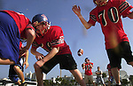 Offensive players Max Annis (56) and Bobbie Stine (70) with the North Tonawanda Jacks youth football team move forward as quarterback Aaron Krzystek (16) reaches for the ball during a practice session outside the Daytona Beach Ocean Center, Wednesday, Nov. 21, 2001.  The Jacks are among numerous teams from across the country that have come here to compete in the 2001 Youth Football Championship games being played at various venues in our are over the Thankgiving weekend.(Brian Myrick)  **Contact info...Coach Craig Anthony 716-510-3255**
