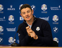 25.09.2014. Gleneagles, Auchterarder, Perthshire, Scotland.  The Ryder Cup.  Justin Rose (EUR) during his press interview.