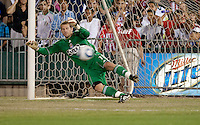 Dan Kennedy misses the save. The San Jose Earthquakes defeated Chivas USA 6-5 in shootout after drawing 0-0 in regulation time to win the inagural Sacramento Cup at Raley Field in Sacramento, California on June 12, 2010.
