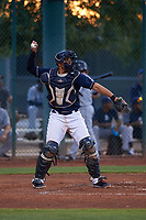 AZL Indians Red catcher Yainer Diaz (4) during an Arizona League game against the AZL Padres 1 on June 23, 2019 at the Cleveland Indians Training Complex in Goodyear, Arizona. AZL Indians Red defeated the AZL Padres 1 3-2. (Zachary Lucy/Four Seam Images)