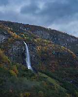 Waterfall in Flåmsdalen valley, Flåm, Sogn og Fjordane, Norway
