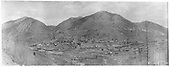 An east-facing panoramic hillside view of the entire rail yard with the station area and town of Rico.  This photo was commissioned by The United Rico Mines to show their properties.<br /> RGS  Rico, CO  Taken by Ballough, Monte - ca 1896