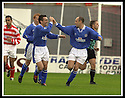 5/10/02       Copyright Pic : James Stewart                     .File Name : stewart-hamilton v stranraer 09.LEE SHARPE IS CONGRATULATED BYDAVID FARRELL AFTER HE SCORES STRANRAER'S FIRST GOAL....James Stewart Photo Agency, 19 Carronlea Drive, Falkirk. FK2 8DN      Vat Reg No. 607 6932 25.Office : +44 (0)1324 570906     .Mobile : + 44 (0)7721 416997.Fax     :  +44 (0)1324 570906.E-mail : jim@jspa.co.uk.If you require further information then contact Jim Stewart on any of the numbers above.........