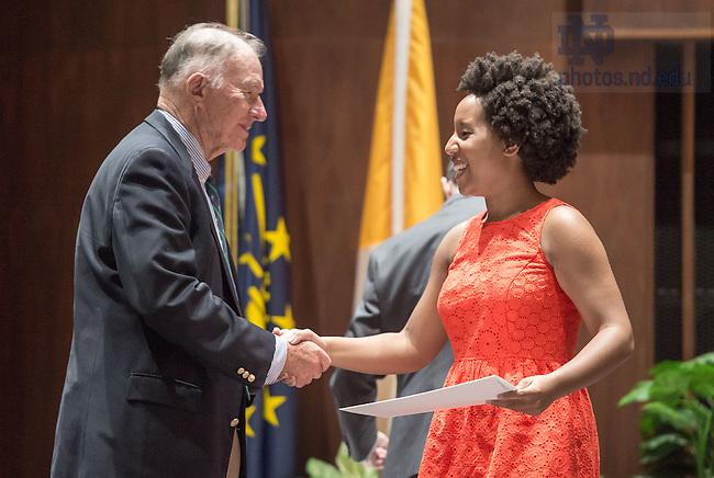 May 15, 2015; Kroc Institute Undergraduate Recognition ceremony. (Photo by Matt Cashore/University of Notre Dame)