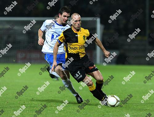 2009-10-23 / Voetbal / Lierse SK - Tienen / Cavens (Lierse) met Meeus..foto: mpics