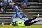 28 August 2016: North Carolina's Zach Wright (10) pushes the ball past Saint Louis's Sascha Otte (GER) (1). The University of North Carolina Tar Heels hosted the Saint Louis University Billikens at Fetter Field in Chapel Hill, North Carolina in a 2016 NCAA Division I Men's Soccer match. UNC won the game 3-0.