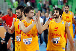 """Sergio Llull and Ricky Rubio of Spain celebrate after European basketball championship """"Eurobasket 2013""""  basketball game for 3rd place between Spain and Croatia in Stozice Arena in Ljubljana, Slovenia, on September 22. 2013. (credit: Pedja Milosavljevic  / thepedja@gmail.com / +381641260959)"""