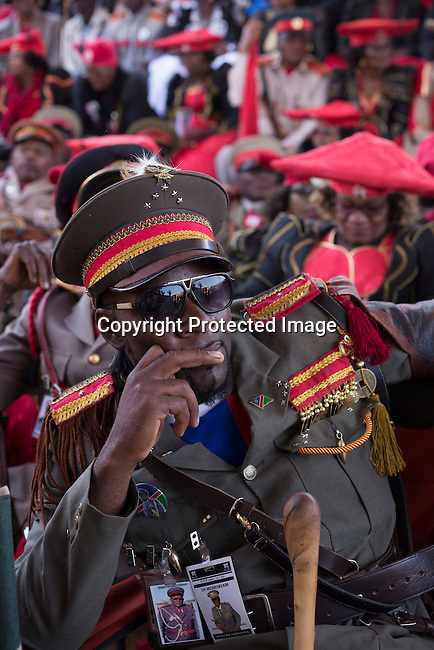 OTJIWARONGO, NAMBIA- AUGUST 12: Herero dressed in traditional clothing commemorating fallen chiefs killed in battles with Germans during a day long ceremony in Otjiwarongo, Namibia. (Photo by Per-Anders Pettersson)