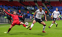 Bolton Wanderers' Pawel Olkowski competing with Walsall's Luke Leahy<br /> <br /> Photographer Andrew Kearns/CameraSport<br /> <br /> Emirates FA Cup Third Round - Bolton Wanderers v Walsall - Saturday 5th January 2019 - University of Bolton Stadium - Bolton<br />  <br /> World Copyright &copy; 2019 CameraSport. All rights reserved. 43 Linden Ave. Countesthorpe. Leicester. England. LE8 5PG - Tel: +44 (0) 116 277 4147 - admin@camerasport.com - www.camerasport.com