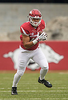 Hawgs Illustrated/BEN GOFF <br /> Jeremy Patton, Arkansas tight end, catches a pass in the second quarter against Mississippi State Saturday, Nov. 18, 2017, at Reynolds Razorback Stadium in Fayetteville.