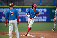 Clearwater Threshers Nick Maton (6) rounds the bases after hitting a home run as manager Marty Malloy (2) waits to congratulate him during a Florida State League game against the Lakeland Flying Tigers on May 14, 2019 at Spectrum Field in Clearwater, Florida.  Clearwater defeated Lakeland 6-3.  (Mike Janes/Four Seam Images)