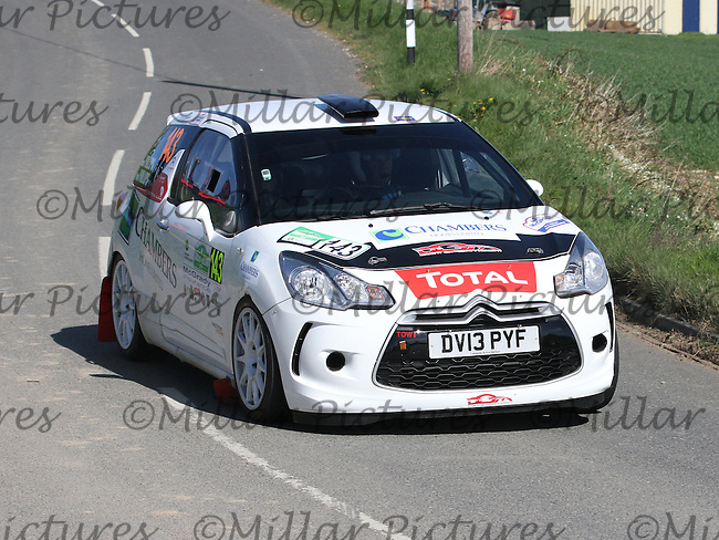 Robin Phillips - Laura Phillips in a Citroen DS3 near Junction 4 on Special Stage 1 Loughries Village of the Discover Northern Ireland Circuit of Ireland Rally which was a constituent round of  the FIA European Rally Championship, the FIA Junior European Rally Championship, the Clonakilty Irish Tarmac Rally Championship, and the MSA ANICC Northern Ireland Stage Rally Championships which took place on 18.4.14 and 19.4.14 and was based in Belfast.
