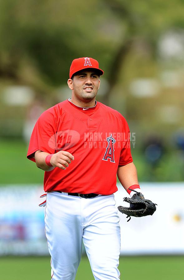 Mar. 9, 2010; Tempe, AZ, USA; Los Angeles Angels infielder Kendry Morales against the San Diego Padres at Tempe Diablo Stadium. Mandatory Credit: Mark J. Rebilas-