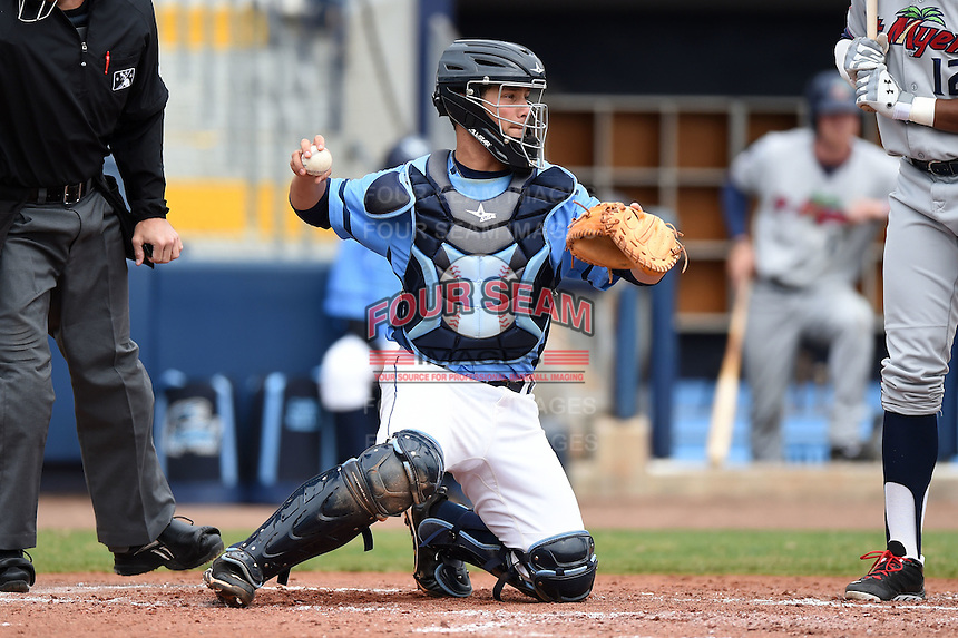 Charlotte Stone Crabs catcher Maxx Tissenbaum (19) during a game against the Fort Myers Miracle on April 16, 2014 at Charlotte Sports Park in Port Charlotte, Florida.  Fort Myers defeated Charlotte 6-5.  (Mike Janes/Four Seam Images)