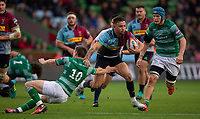 Harlequin's Niall Saunders evades the tackle of Newcastle Falcons'  Brett Connon<br /> <br /> Photographer Bob Bradford/CameraSport<br /> <br /> Premiership Rugby Cup Round 2 Pool 1 - Harlequins v Newcastle Falcons - Sunday 4th November 2018 - Twickenham Stoop - London<br /> <br /> World Copyright © 2018 CameraSport. All rights reserved. 43 Linden Ave. Countesthorpe. Leicester. England. LE8 5PG - Tel: +44 (0) 116 277 4147 - admin@camerasport.com - www.camerasport.com