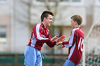 Aaron Connolly (At age 14) of Mervue United U14 celebrates scoring against North End United.<br /> <br /> Mervue United v North End United, U14 SFAI Goodson Cup Semi Final, 12/4/14, Fahy's Field, Mervue, Galway.