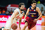 Real Madrid's player Sergio Llull and Barcelona's player Satoransky during Liga Endesa 2015/2016 Finals 3rd leg match at Barclaycard Center in Madrid. June 20, 2016. (ALTERPHOTOS/BorjaB.Hojas)